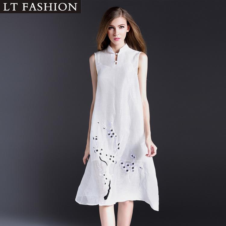2016夏季新款欧洲站专柜品牌女装中长刺绣件套桑蚕丝连衣裙两裙子