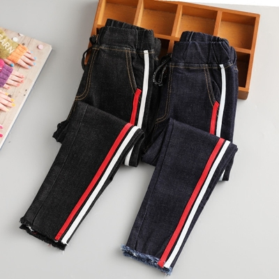 Children's clothing girls jeans spring and autumn models stretch elastic casual pants Korean girls trousers children in large children's pants