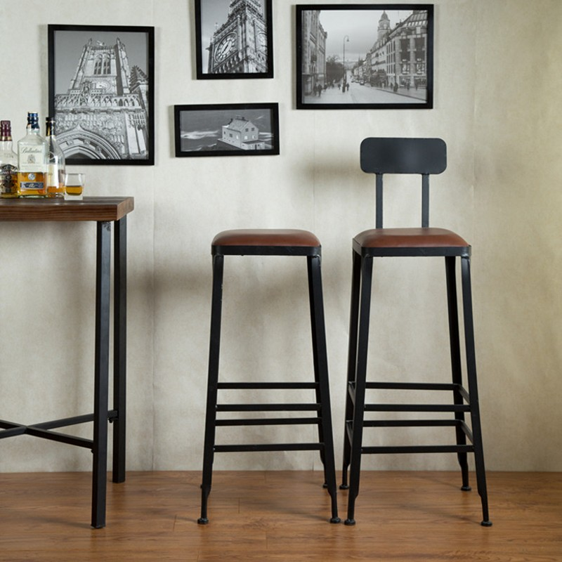 American Retro Wrought Iron Bar Stools Starbucks Bar Chairs Bar Solid Wood  Chairs Cafe High Chairs