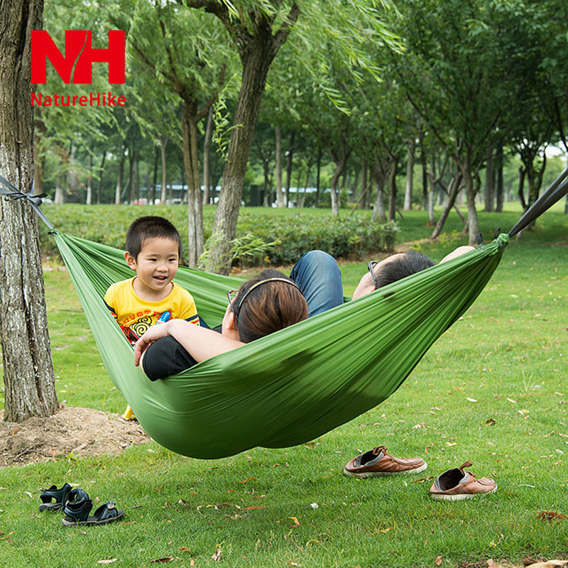 Medium image of naturehike nh parachute cloth hammock ultra light hammock single double leisure hammock