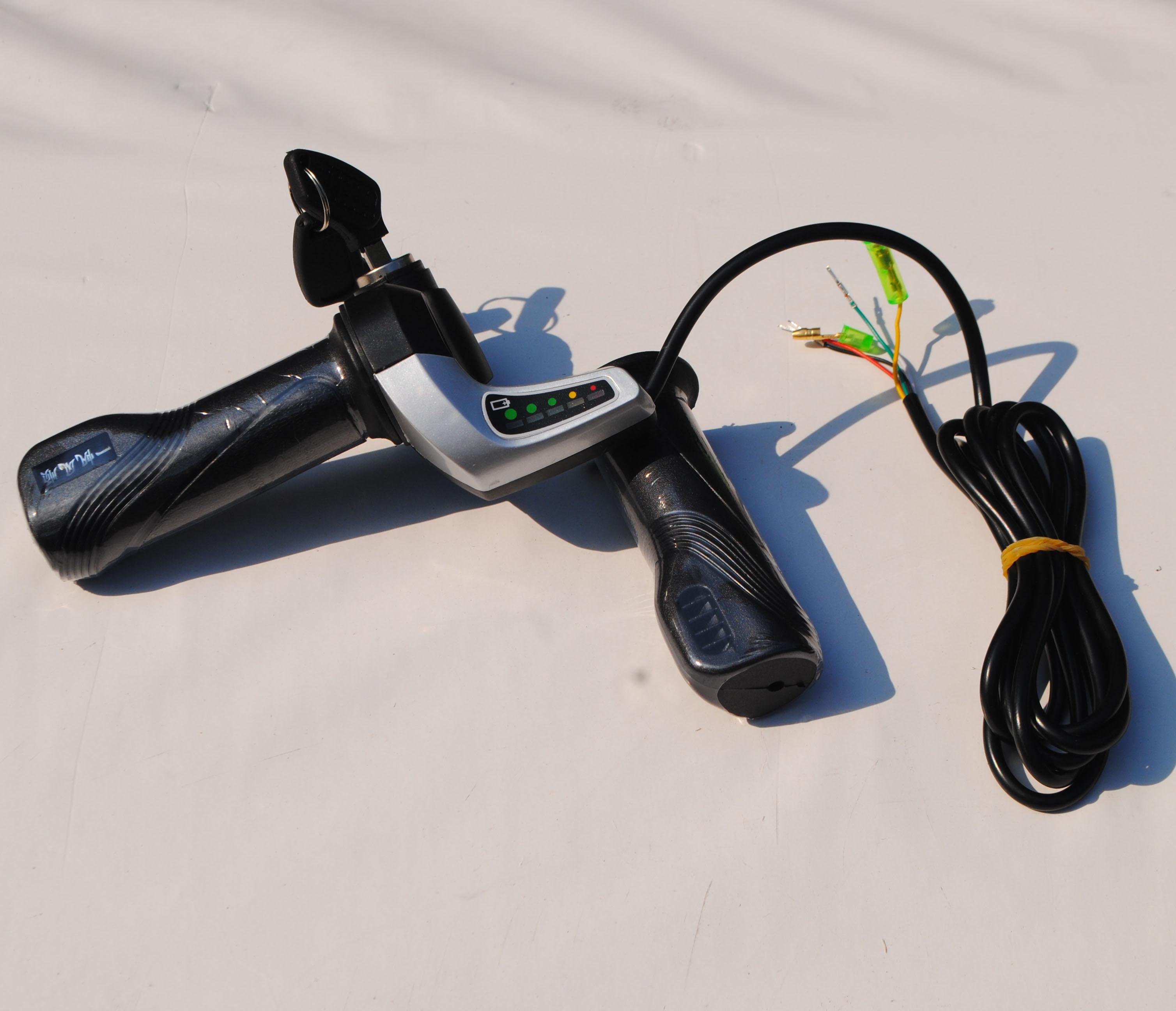 五星带电量显示转把24v36v48带锁转把 电动车滑板车仪表转把