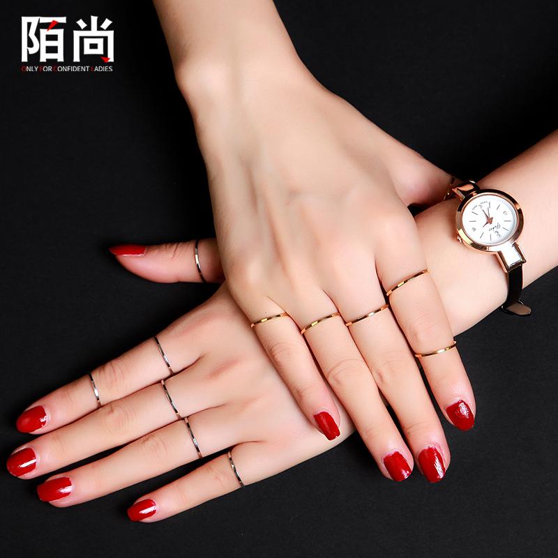 Thời trang hàn quốc mạ 18 K rose gold đơn giản glossy nhẫn nữ ngón tay trỏ đuôi vòng vài vòng trang sức chữ