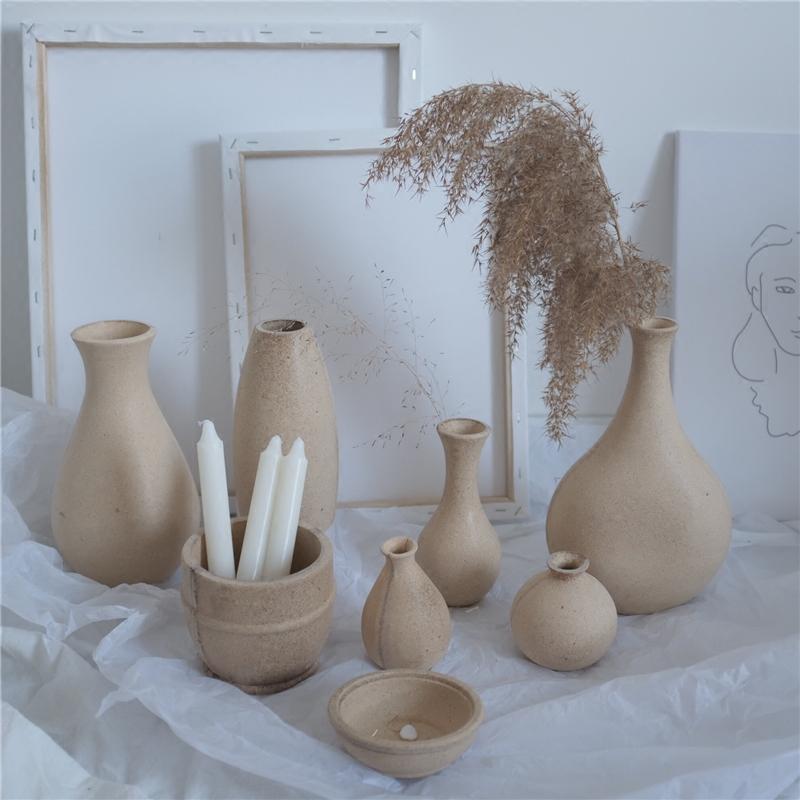 风物札记 复古做旧毛坯粗糙木制复合技术粘合花瓶 收纳盘家居装饰