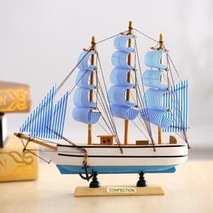 地中海木质一帆风顺帆船模型