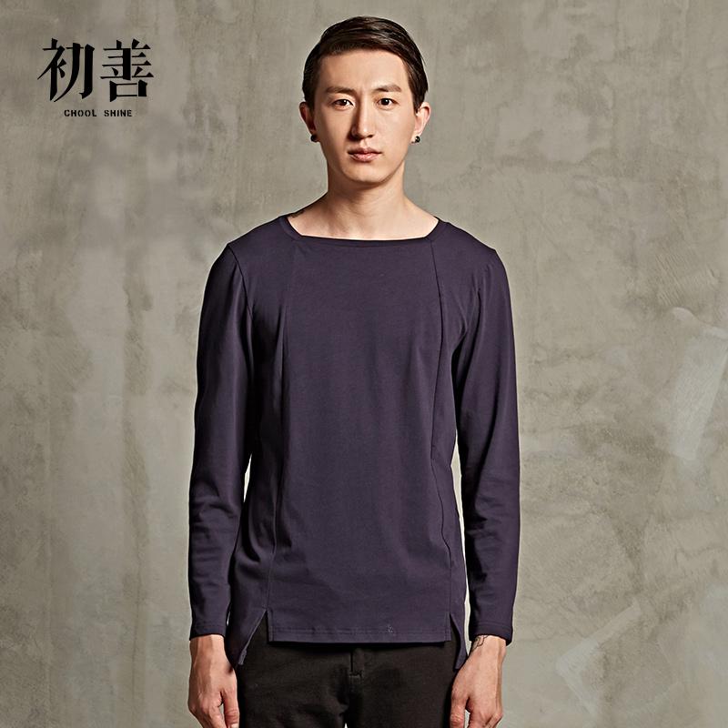 Giải phóng mặt bằng khuyến mãi đầu tiên người đàn ông tốt của quần áo thiết kế ban đầu mùa thu nghệ thuật bông giản dị vòng cổ dài tay áo bên trong T-Shirt nam