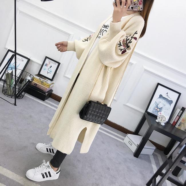 2018冬装新款女针织衫开衫外套中长款韩版刺绣春秋宽松长袖毛衣潮
