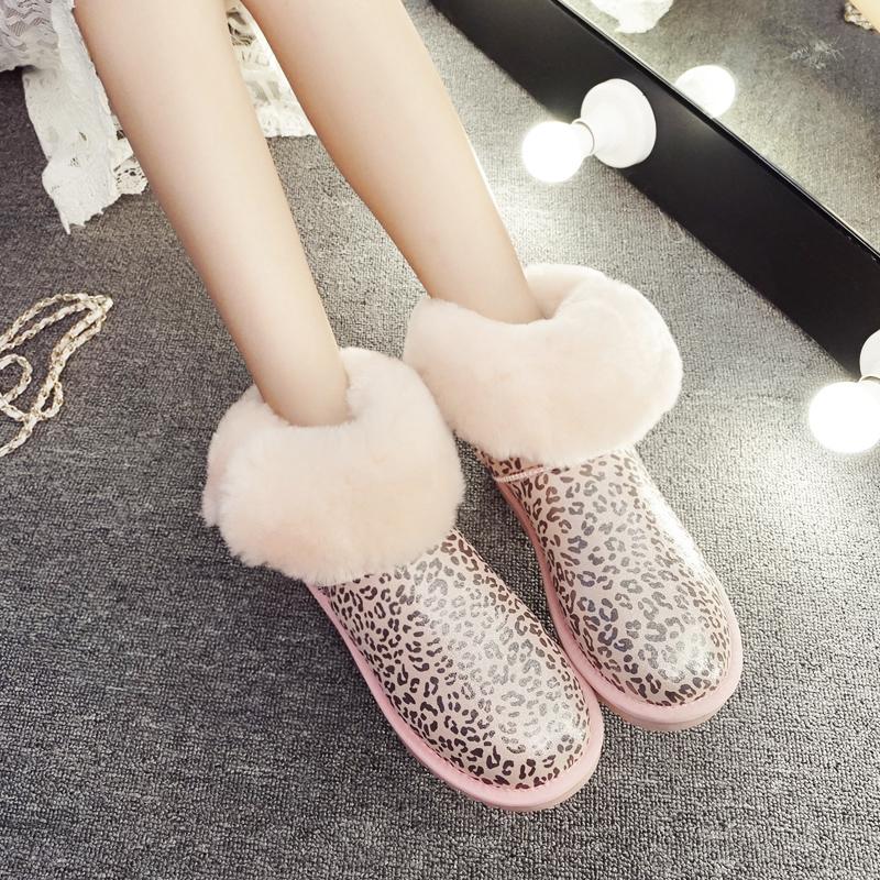 2019冬季新款真皮靴女中筒豹纹雪地平底鞋防滑女鞋防水冬靴棉鞋