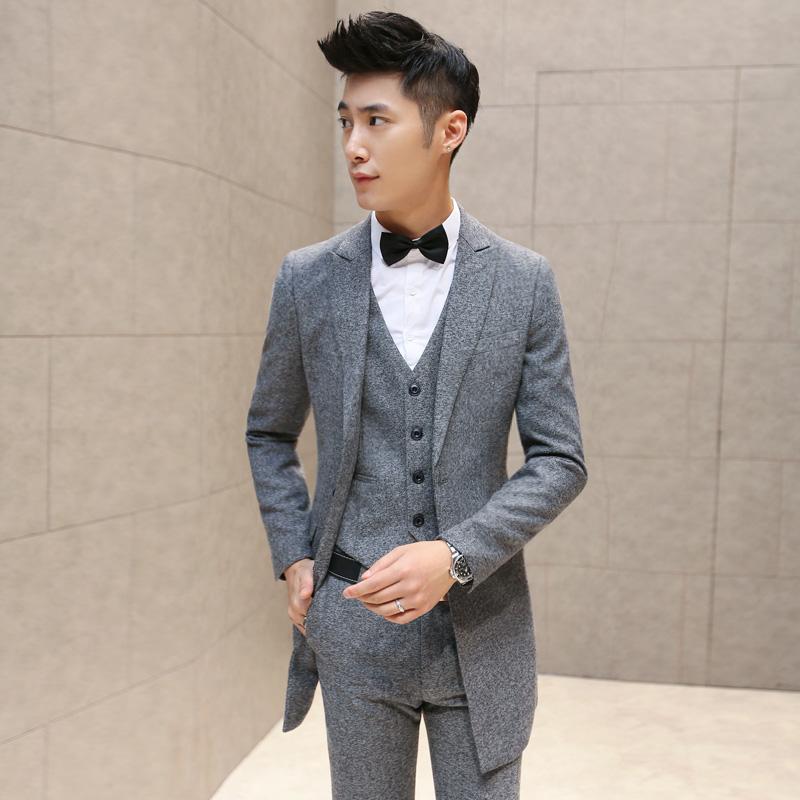 西服套装男士三件套新郎结婚礼服韩版修身小西装商务职业正装冬季