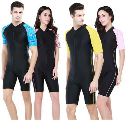 7c9e00624b6 Couples Siamese wetsuit jellyfish clothing snorkeling clothing men and  women short-sleeved one-piece swimsuit equipment surfing