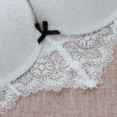 丝之莎性感蕾丝黑白撞色小胸加厚文胸  聚拢侧收调整型内衣套装