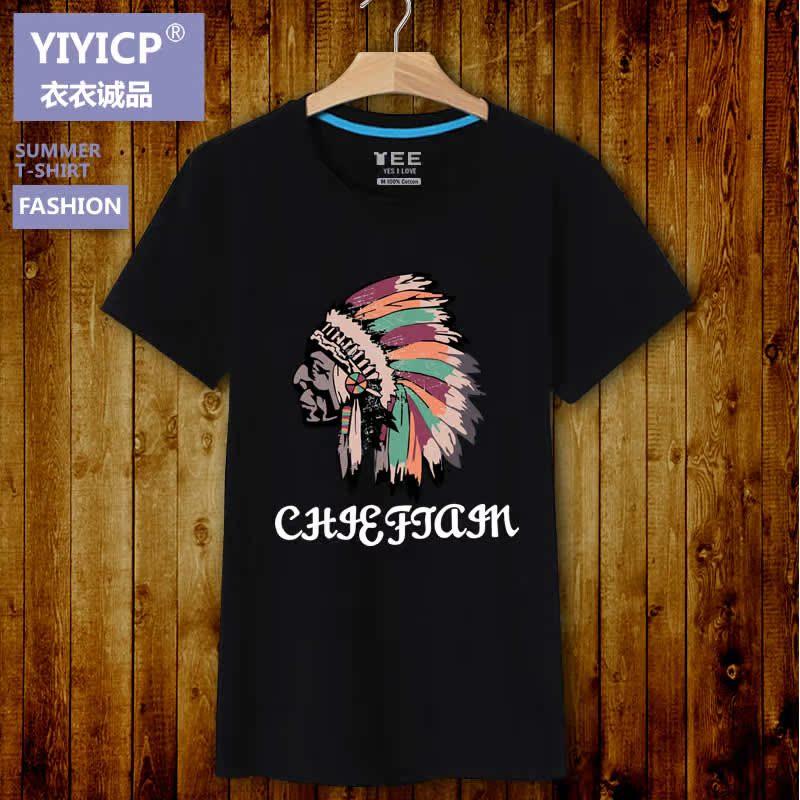 俞兆林印第安人头像印花短袖T恤男 夏季圆领纯棉加肥加大半袖体恤
