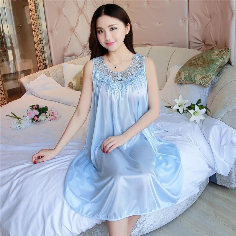 94ba2ba7c6 Pajamas women's summer short-sleeved loose large size ice silk nightdress  sleeveless fat M200 kg