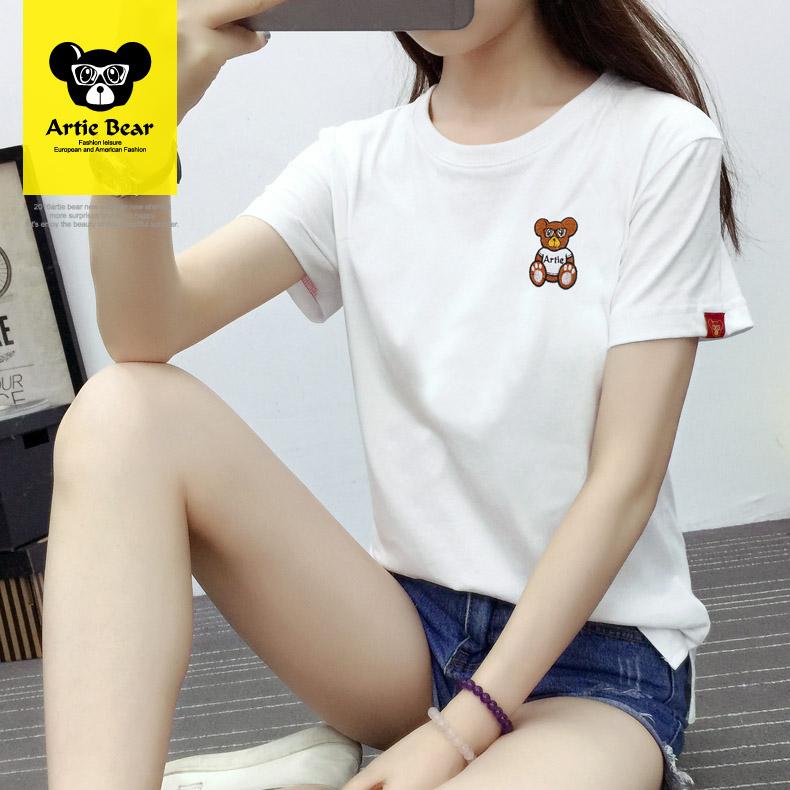 小熊短袖T恤女装潮春夏新款修身韩版体恤学生白色纯棉圆领打底衫