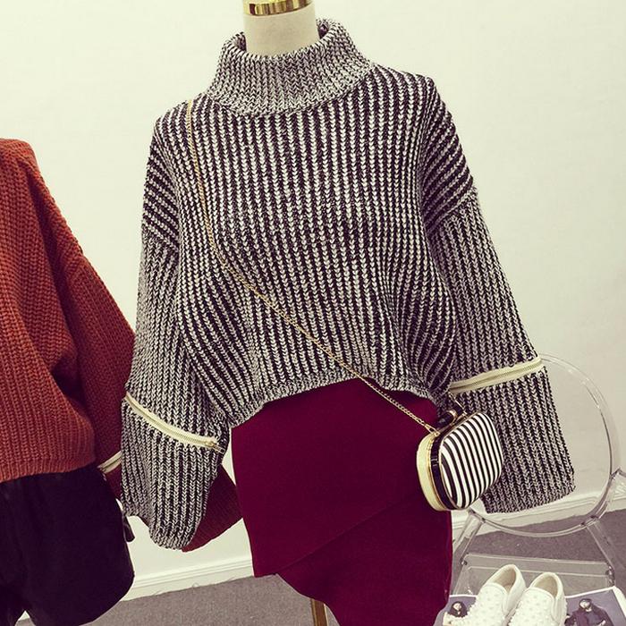 淘淘衣*2015新款韩版东大门复古混色短款半高领拉链长袖套头毛衣