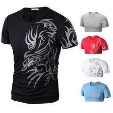 Fashion European and American Style Nightclub Trend Tattoo Print Round Neck Short Sleeve T-Shirt Men's Casual T Shirts