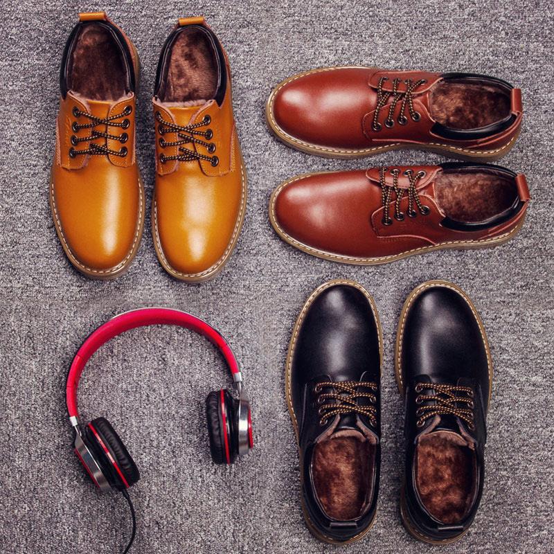 惟森男鞋潮鞋英伦男士休闲鞋加绒棉鞋大头鞋工装鞋真皮鞋子男冬季