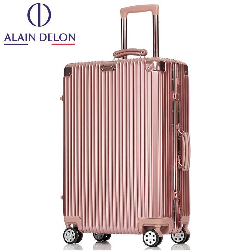 ALAIN DELON/阿兰德隆玫瑰金铝框拉杆箱万向轮旅行箱男女行李箱子