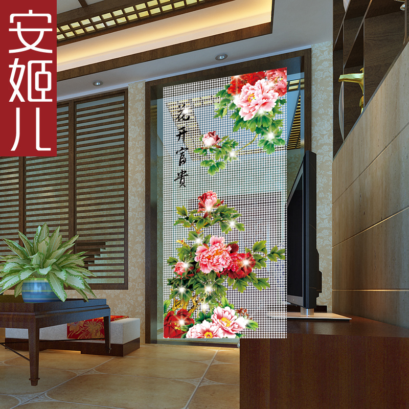 An Ji Children Curtain Flowers Rich Pattern Curtain Curtain Partition Porch  DIY Curtain Living Room Bedroom Study Crystal Hanging Curtain