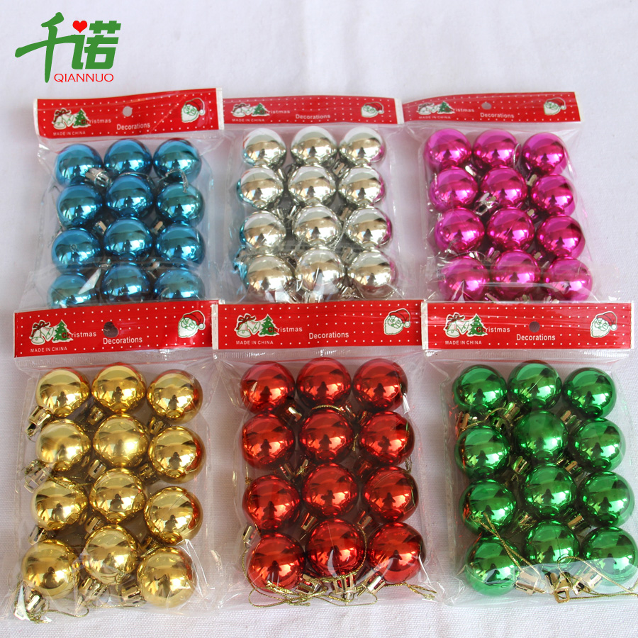 qian nuo christmas decorations christmas ball trumpet kindergarten decoration small ball 3cm bright light plating ball - Small Christmas Decorations