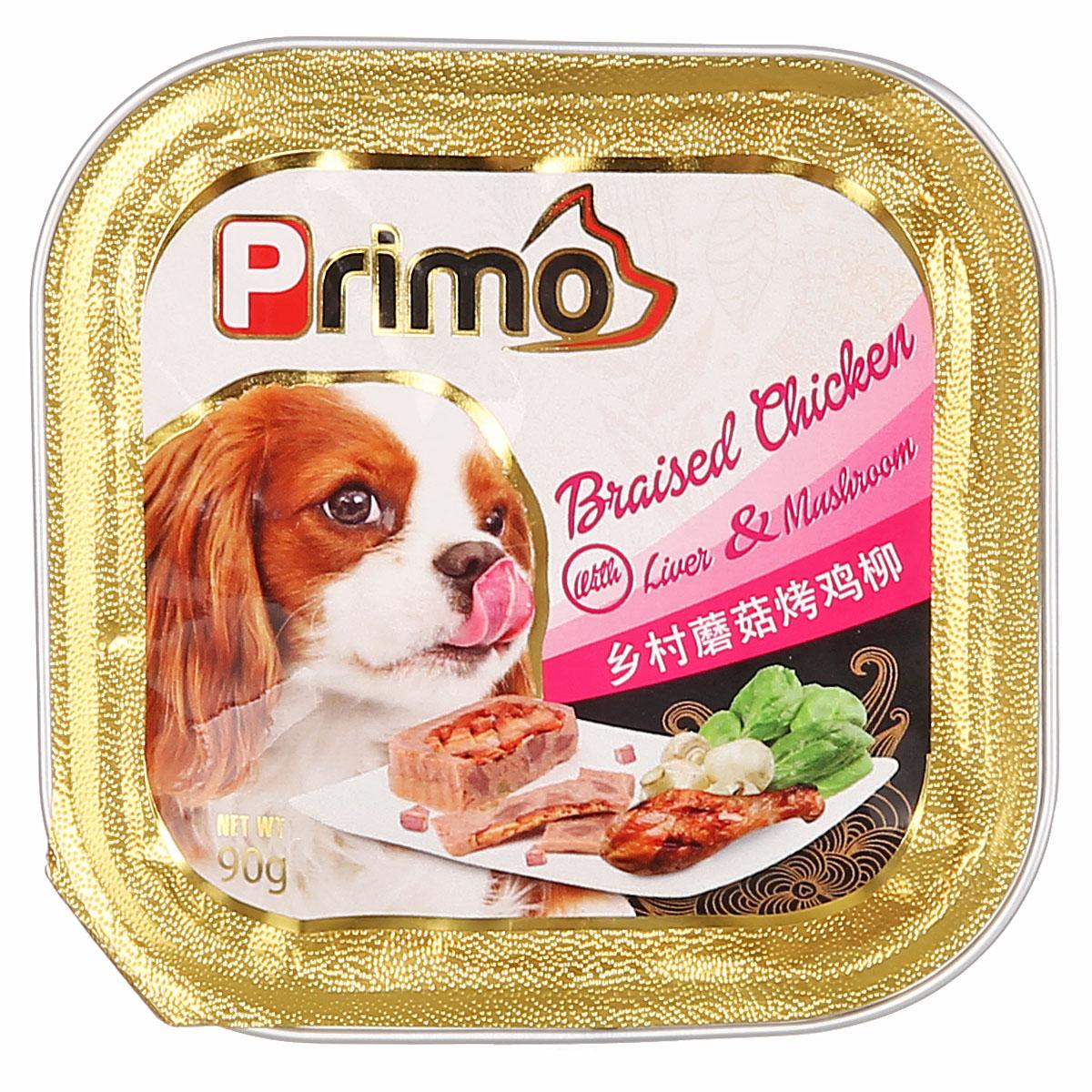波奇网 宠物狗罐头Primo主厨精致狗罐系列湿粮乡村蘑菇烤鸡柳90克