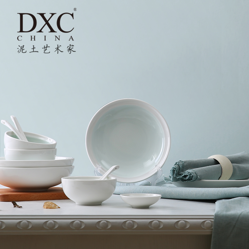 DXC creative dishes ceramic tableware set Chinese kitchen household dishes set wedding gift box simple : creative dinnerware - pezcame.com