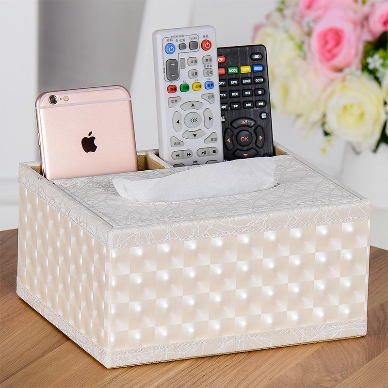 皮革纸巾盒 创意桌面遥控器收纳盒欧式家用客厅抽纸盒简约可爱