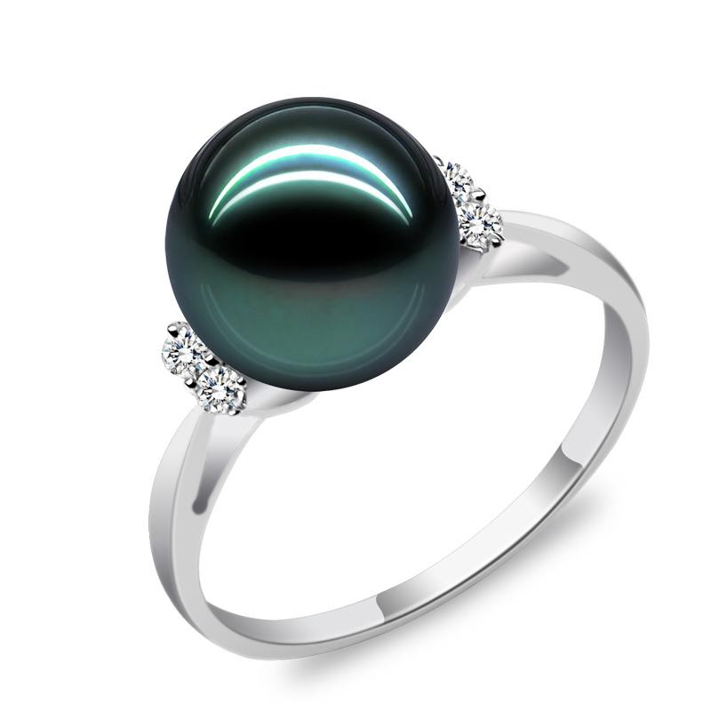大溪地母贝黑珍珠手饰戒指海水天然珍珠正圆925银戒指女款简约