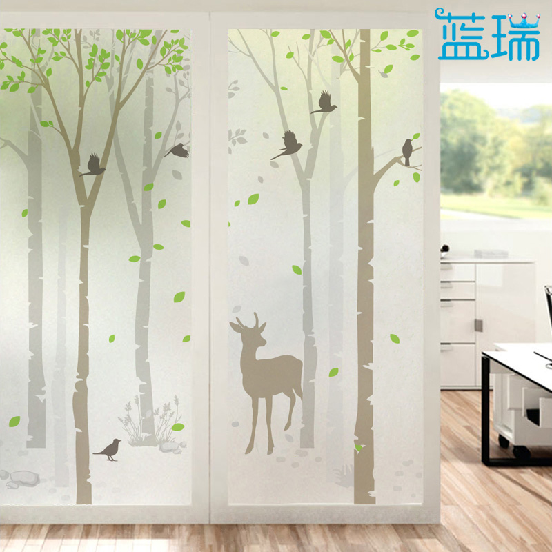 Blue Rui Frosted Glass Foil Paper Bathroom Window Window Stickers Glass  Sliding Door Stickers Forest Deer