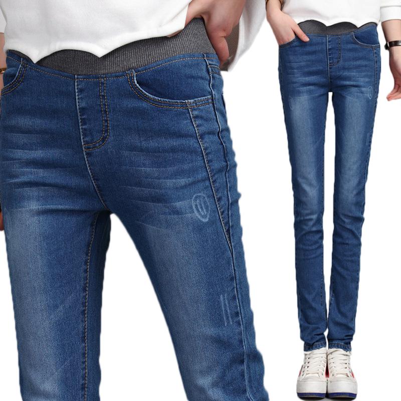女童洋气牛仔裤春秋冬装新款长裤12岁中大童15儿儿童加绒加厚裤子