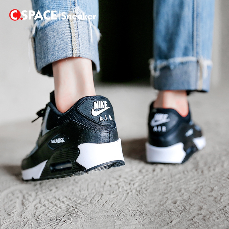 new styles 36128 bf529  Cspace Nike Air Max 90 Wmns black and white women s casual running shoes  325213