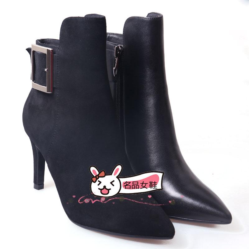 哈森女鞋女靴2015春秋冬季新款真皮靴高跟细跟尖头及踝靴单靴短靴