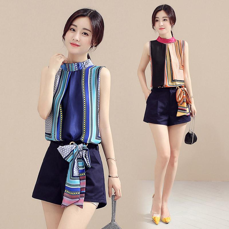 韩版夏装新款女装个性T恤短袖雪纺上衣短裤两件套时尚休闲套装潮