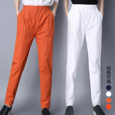 Real new cotton and linen trousers harem pants large size elastic waist super soft thin pants