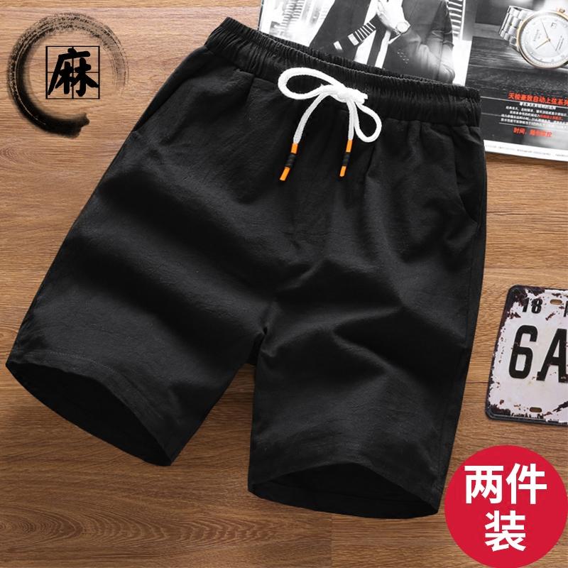 Mùa hè linen quần short giản dị men loose quần cộng với phân bón XL fat man chất béo cotton và linen năm quần của nam giới quần