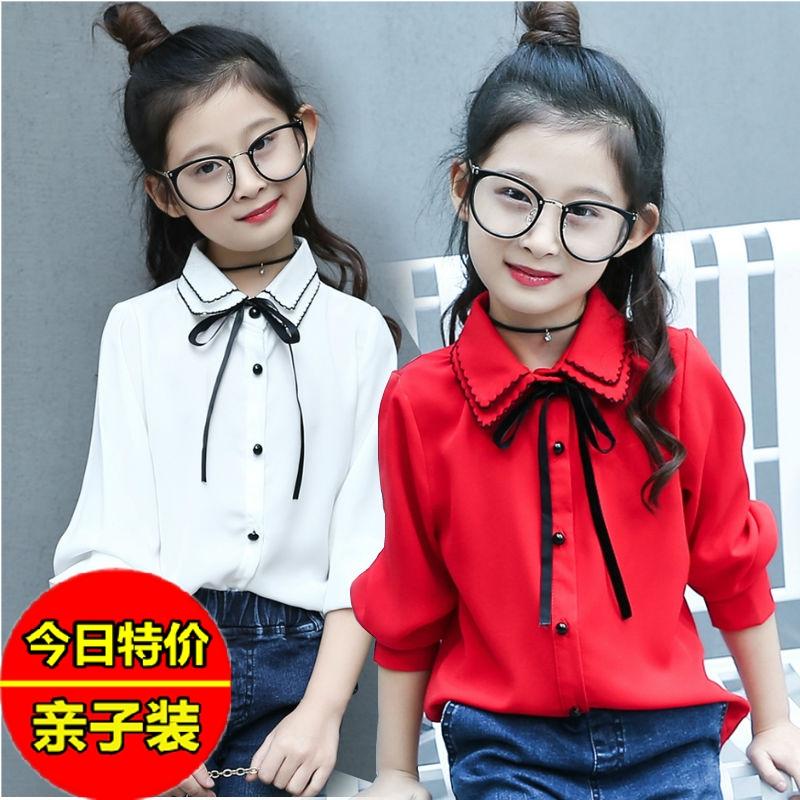 长袖衬衫上衣春夏2019新款韩版女童红白色儿童中大童薄款衬衣雪纺