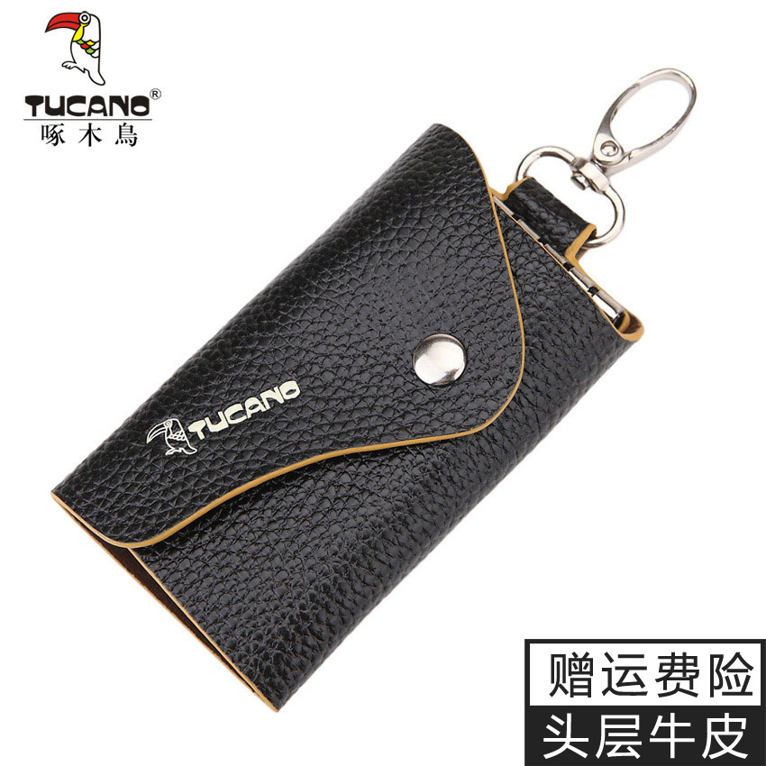 39342b755829 Woodpecker new large-capacity multi-function hanging waist key bag leather  Korean version of the color men and women leather key bag