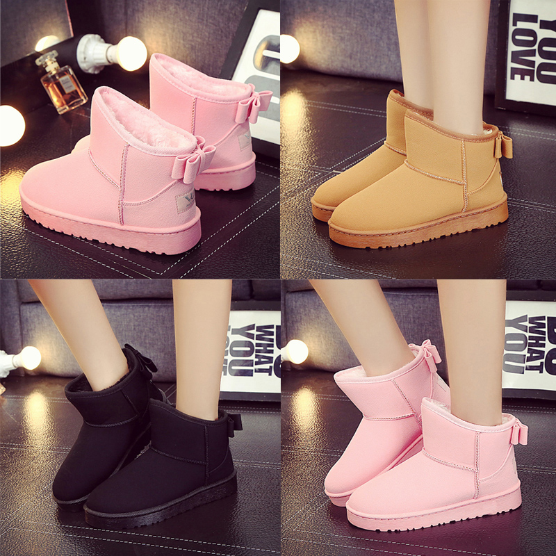 New winter snow boots frosted tide women's shoes flat short tube boots waterproof plus velvet thick warm cotton shoes women's boots