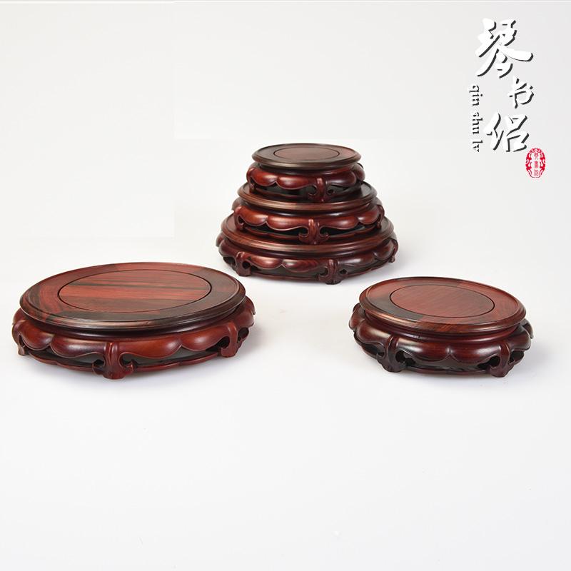 红酸枝木雕底座莲花工艺实木底座花瓶圆形底座紫砂壶佛像玉石