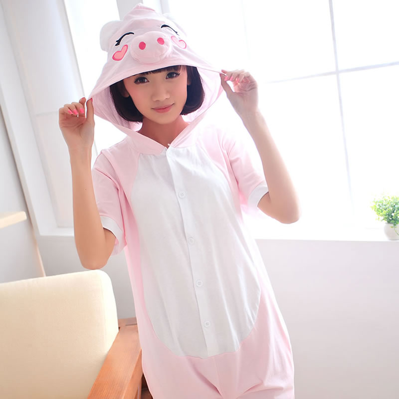Small pink pig summer short-sleeved cartoon animal conjoined pajamas couple  male and female parent e4bfc0759