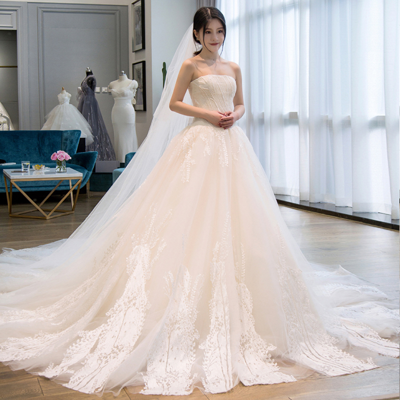 Top Wedding Dress Tail 2018 New Korean Bride Was Thin Palace Long