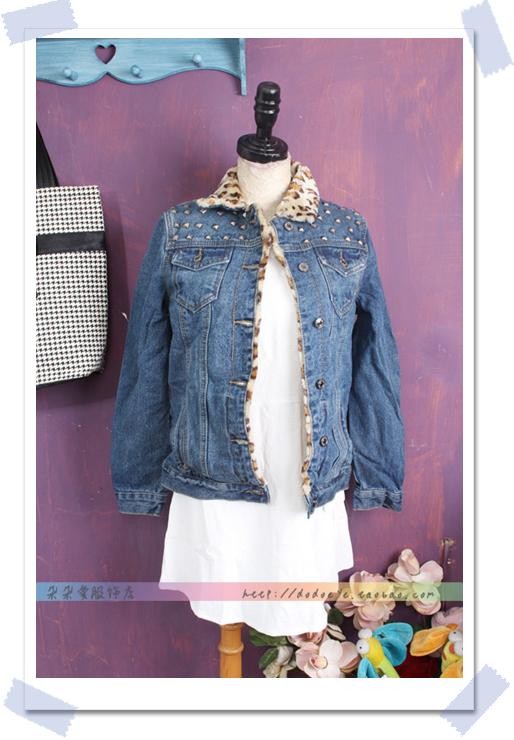 女装豹纹秋冬季韩版秋装女士牛仔上衣a女装短外套v女装气质长袖夹克