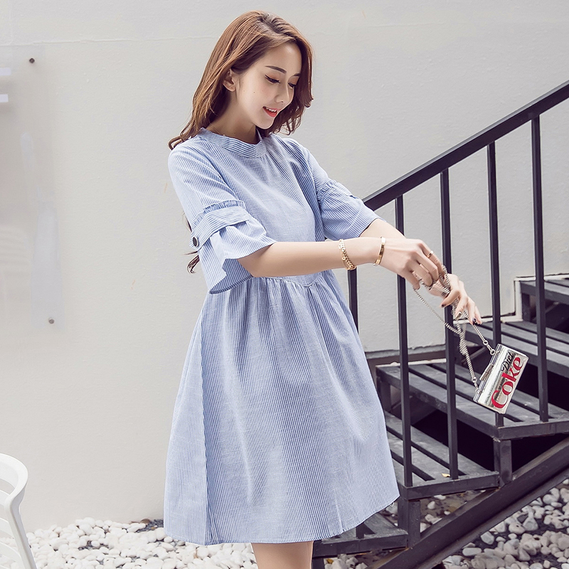 48f295c692725 Pregnant women dress summer Korean version of the long section of fashion  loose A word shirt maternity dress spring 2019 new