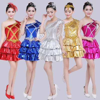 Jazz Dance Costumes Modern Dance Costume Female Jazz Dance Costume Adult Stage Fashion Short Skirt Pompon Skirt Sequins