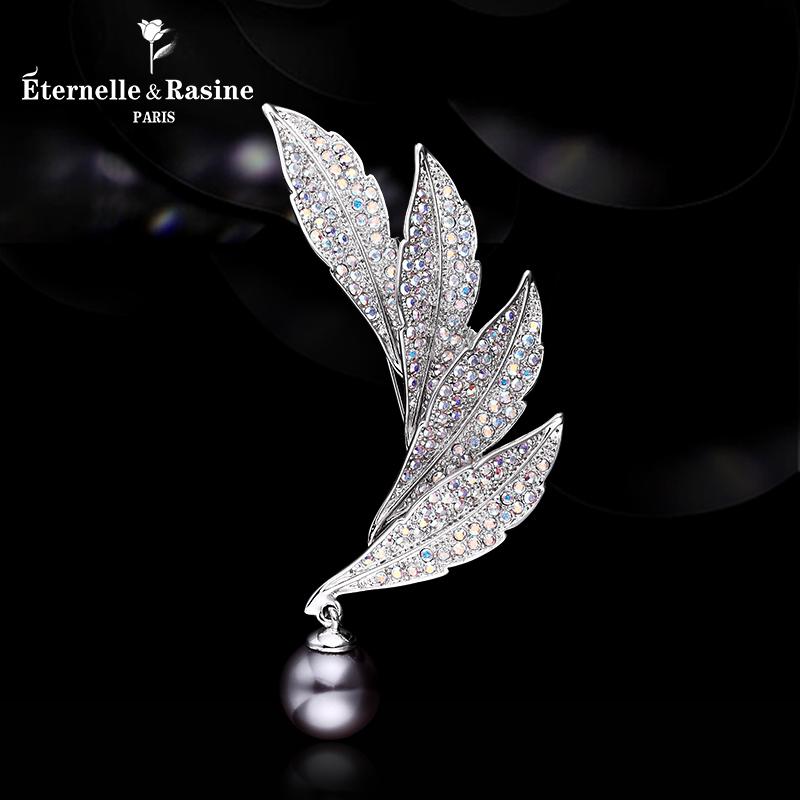 Pháp Eternelle Châu Âu và Hoa Kỳ phụ kiện lông trâm mạ 18 K white gold brooch dual-sử dụng khăn lụa khóa món quà sinh nhật