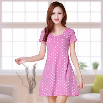 Summer female short-sleeved cotton sleep free wear brass clothing home service Korean version of the women's chest pad pajamas dress autumn