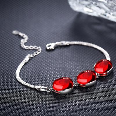 S925纯银绿玉髓红玛瑙手链女日韩版时尚复古红宝石百搭气质首饰品