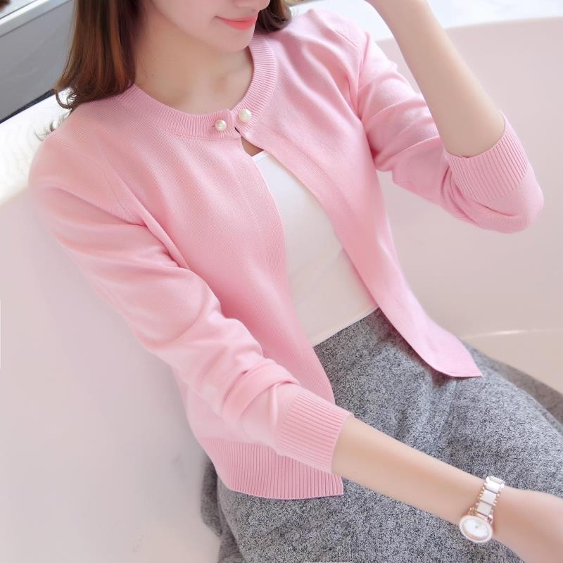 春夏秋装薄款针织衫女开衫长袖V领外搭短款毛衣小披肩外套空调衫