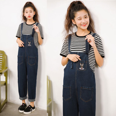 150cm small Korean women's loose jeans denim bib students show high school style xs yards trousers