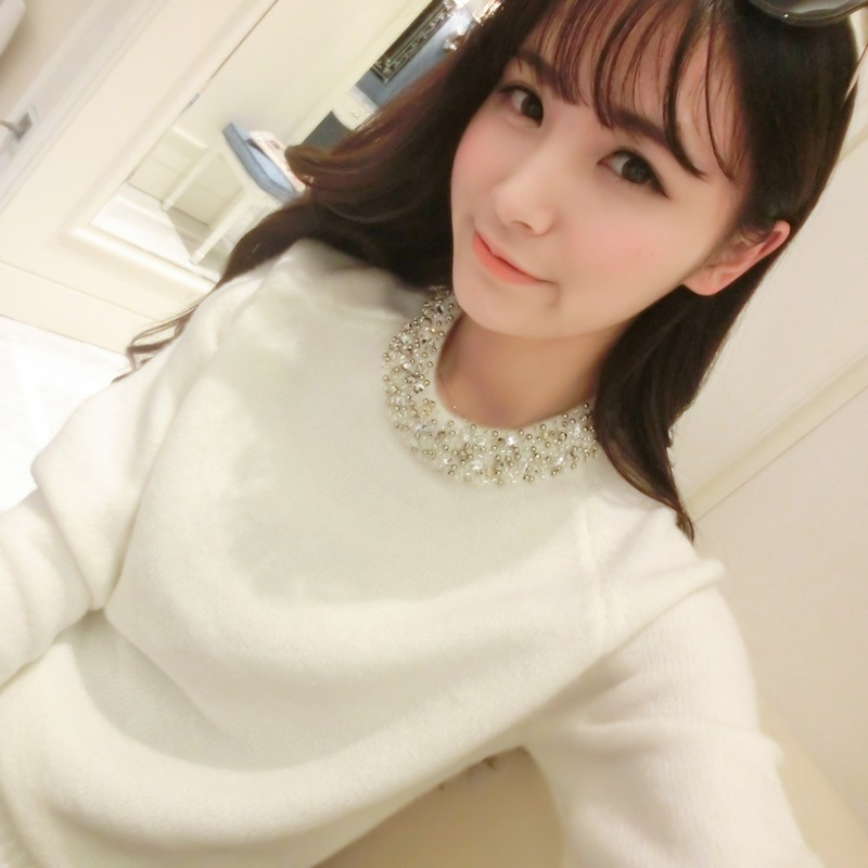 珍珠钉韩国长袖亮片学生女韩版秋季毛衣套头打底衫针织衫秋装圆领
