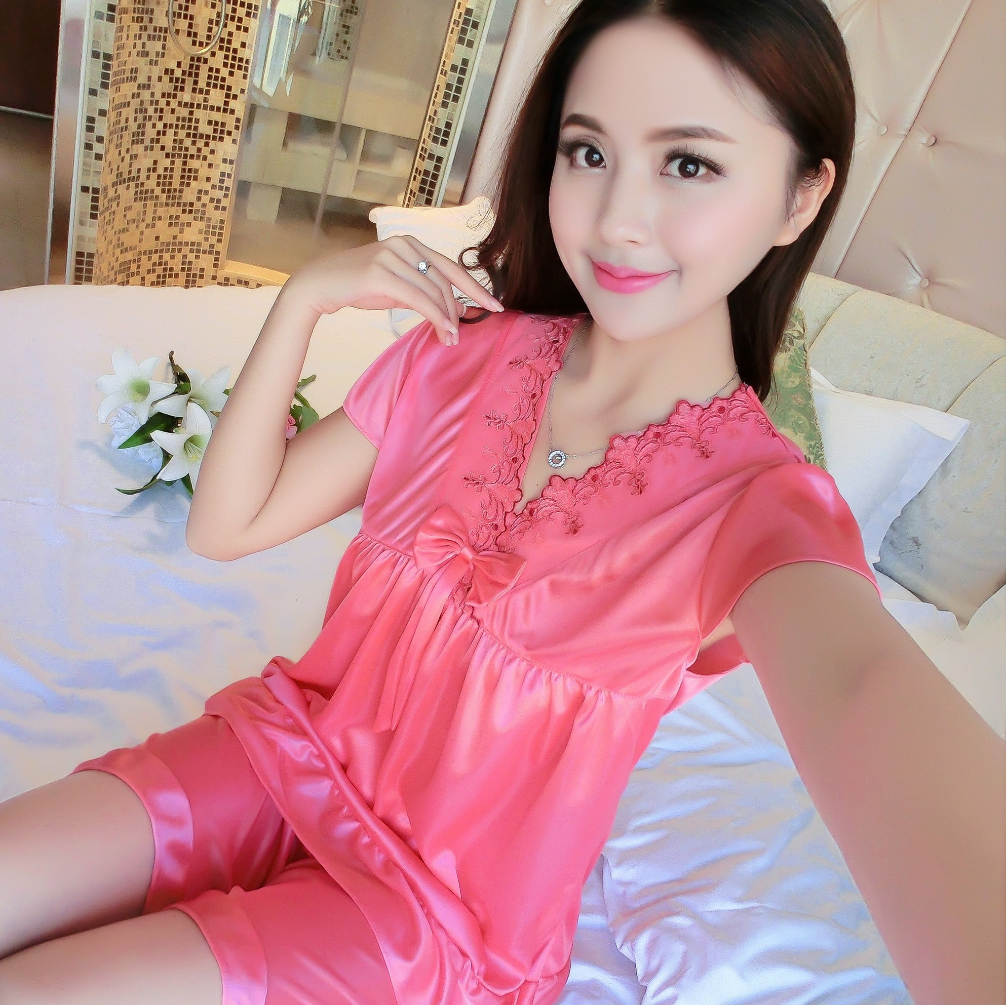 Pajamas ladies short-sleeved Ice Silk Korean version of the two sets of  summer sexy ce3347753